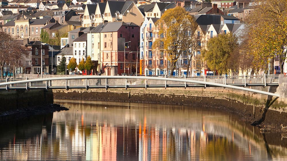 colourful buildings along the river in cork Ireland