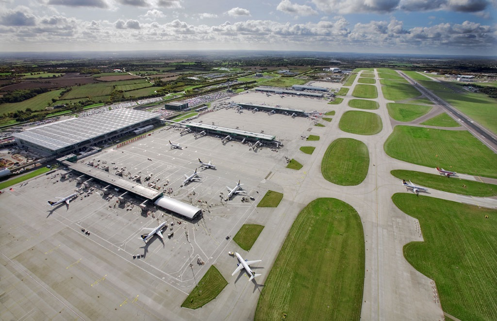 Aerial shot of stansted airport