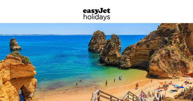 easyjet logo with image of beach below