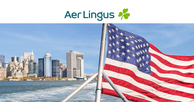 Aer Lingus logo with image of New York and American flag below