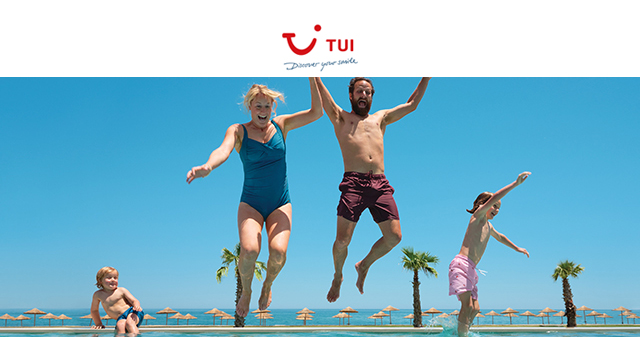 Family jumping into pool with TUI logo above