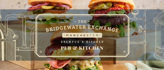 Image of burgers with bridgewater logo in foreground