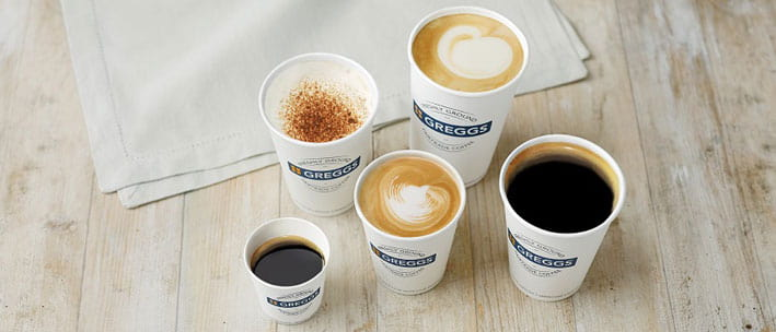 Greggs takeaway coffees