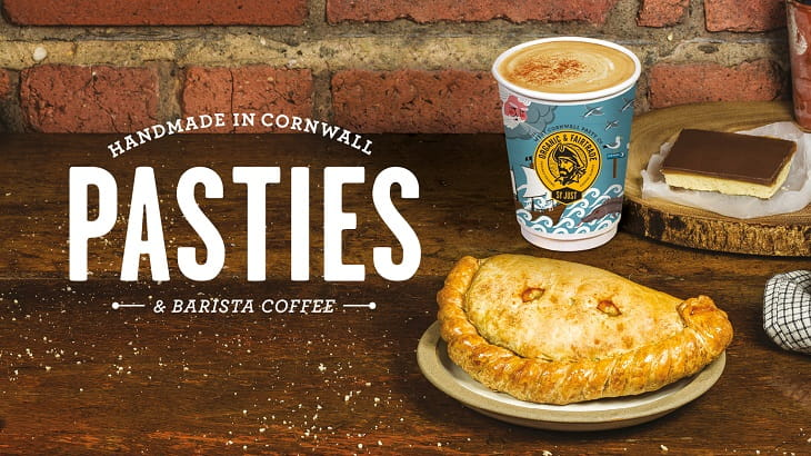 West Cornwall Pasty Co logo with pasty, caramel slice and coffee on a table