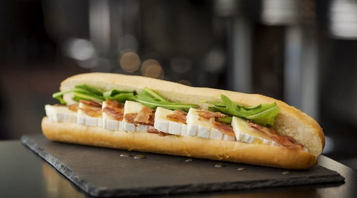 Brie and bacon baguette from not always caviar at Stansted airport