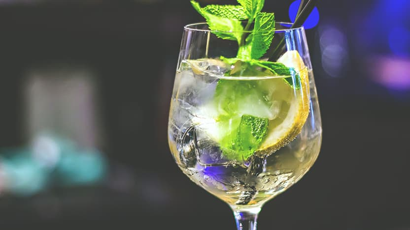 Gin cocktail with mint and lemon