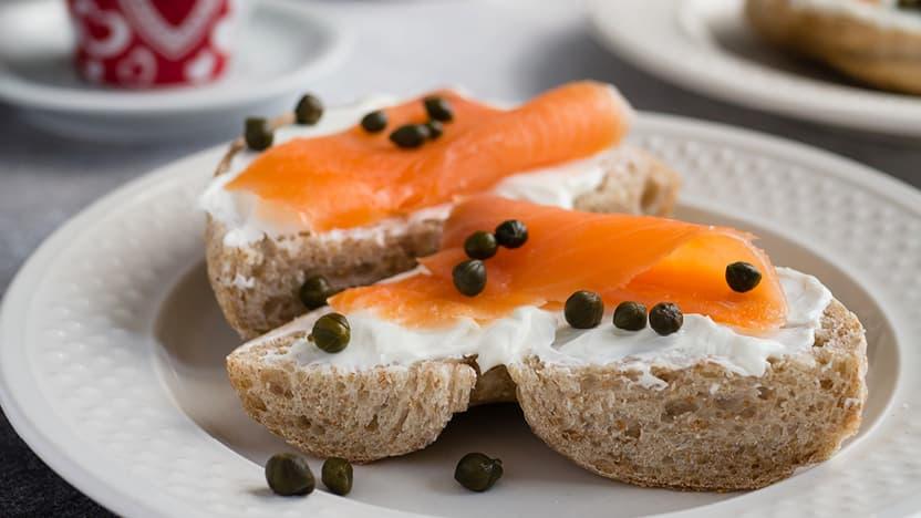 Salmon and cream cheese open sandwich