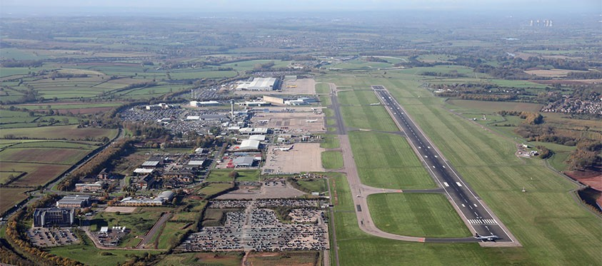 Aerial shot of East Midlands Airport