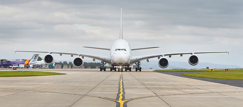 a380 on runway